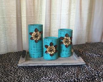 Wooden Candleholders (set of 3)  Aqua with Cream Flowers