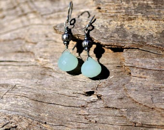 Seafoam Green Chalcedony and Sterling Silver Dangle Earrings kbdesignsetc