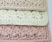 Handcrafted Washcloths - Blush Pink,  Beige, and Cream Washcloth  -  Soft Cotton Washcloths - Crocheted Facecloths
