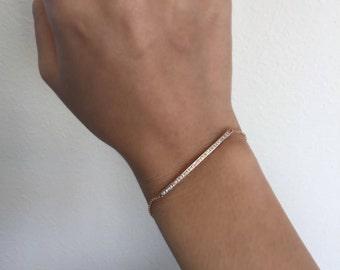 14k Gold .17ct Diamond Bar Bracelet 170-289