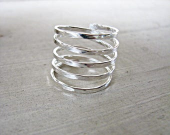 Sterling Silver 5 Band Ring - Size 7.5