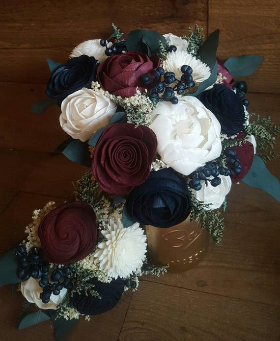 Custom Navy Burgundy Wedding Bouquet Sola Wood Flowers and dried ...