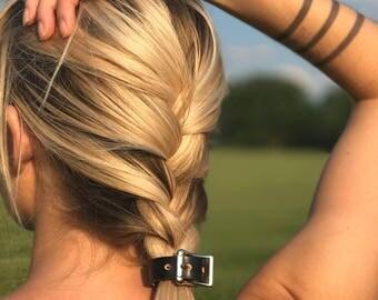 Adjustable Non-slip Leather ponytail holder - Leather hair accessory - Ponytail Belt