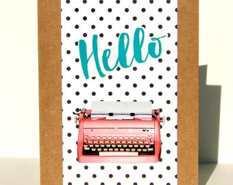 Hello Greeting Card - Vintage Pink Typewriter & Polka Dots - Thinking of You, Keeping in Touch, Just Because, Housewarming, Special Occasion