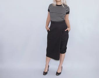 CRUZ - Black cotton Wrap leg asymmetrical capri pants trousers skirt