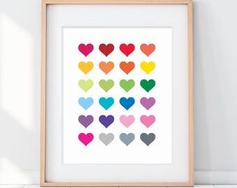 Rainbow Hearts Paper Art Print, Heart Nursery Art, Heart Kids Poster, Rainbow Kids, Kids Colorful, Colourful Kids Wall Decor, Rainbow Art