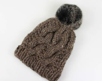Cable Knit Hat Faux Fur Pom Chunky Wool Knit Hat | THE BELFAST in Barley with Black Pom