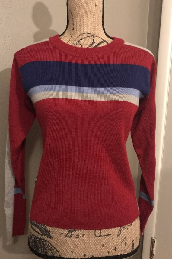 Vintage Obermeyer Women's Red Blue Gray Wool Blend Ski Sweater Top Size S Small