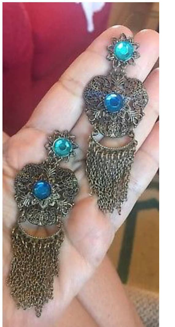 Stunning Vintage Antique Style Brass Filigree Tassel Chain Aqua blue RHinestone Chandelier Dangle Earrings