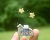 tiny houses with 2 stars, OOAK Christmas ornament or miniature, hand carved stoneware clay