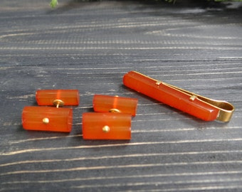 Baltic amber gold plate set cufflinks and tie clip Vintage mens cuff links amber jewelry gemstone august birthstone leo zodiac wedding gift
