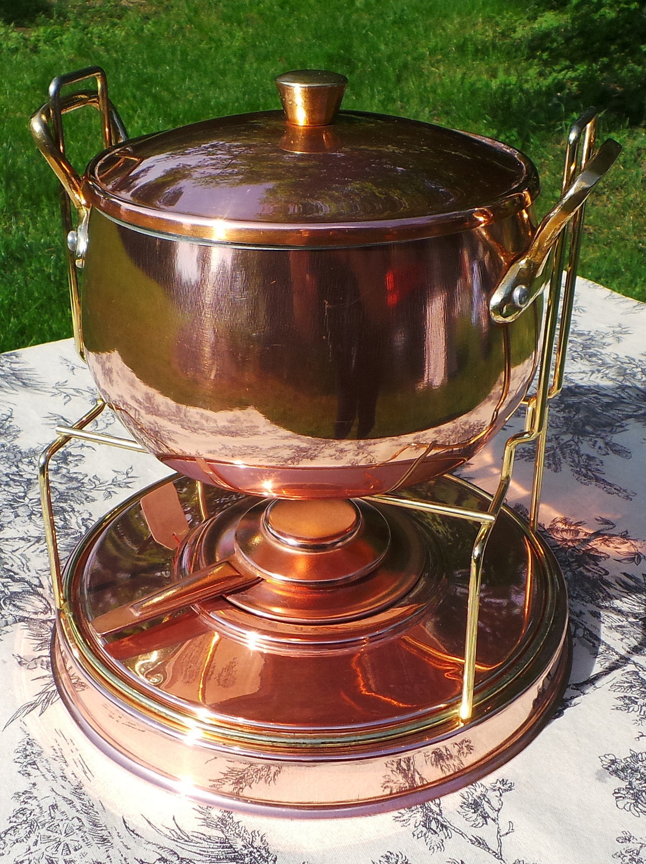 Food Warmer Burner ~ Vintage faucogney copper fondu pan chauffe aliments food