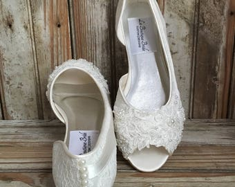 Bridal Ballet Flat Shoe Open toe satin and lace covered flat with hand beaded lace and pearl back