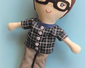 Boy Rag Doll, Custom Made Doll, Christmas Gift, Keepsake Doll, Birthday Present, Personalized Dolls, Sebastian Doll