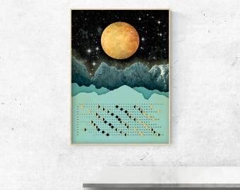 Moon Calendar 2018, Wall Calendar 2018 - Moon with mountains calendar A3, A3+, A2 - calendar print - art print - wall art - home decor