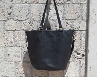 Black leather tote bag / Black leather crossbody bag / Black leather bag