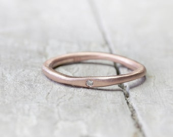 333 Rotgoldring stacking ring with diamond, collecting ring, stone ring, engagement ring, brilliant ring organic shape, ring of gold 8k, rose gold