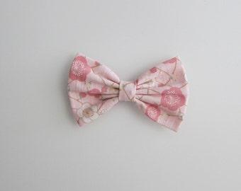 pink hair bow : plum blossom print