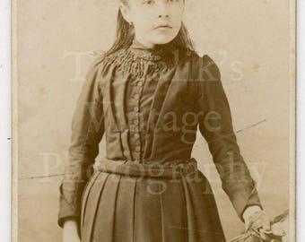 CDV Photo Victorian Young Pretty Girl Holding Flowers Standing Portrait by Boname of Besançon France - Carte de Visite Antique Photograph