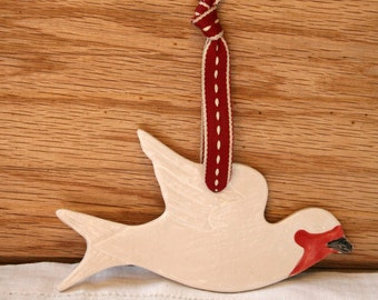 Pottery Swallow Hanging Decoration,  White Pottery Ornament, Red Ribbon & Cream Stitching, Magical Flying Bird, Decor.