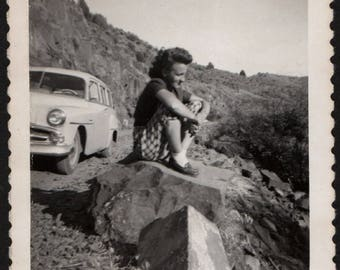 Vintage Snapshot Photo of Woman Sitting on Rock Car Behind Looking at View 1950's, Original Found Photo, Vernacular Photography