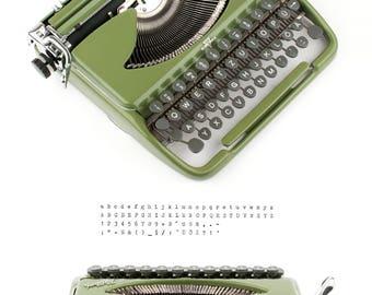 Groma Kolibri - working typewriter - olive green - 50s - excellent condition - vintage typewriter with case