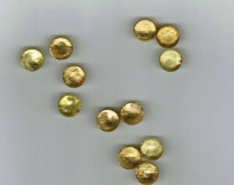 12 Vintage Plastic Buttons - Yellow / Gold Pearl Finish