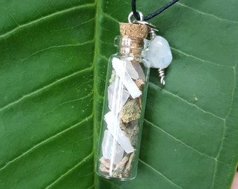 Reiki infused, rose quartz, unakite, and selenite glass vial necklace adorned with a rainbow moonstone *pregnancy support*