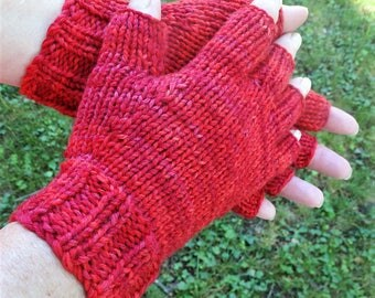 Half Finger Ladies' Gloves Hand Knit Red Merino Wool & Nylon Half Finger Gloves Variegated Red Hand Knit Half Finger Gloves Hand Warmers