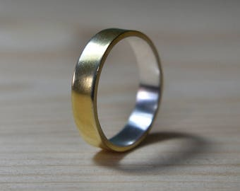 Mens Gold Plated Ring. 925 Silver Gold Plated Ring. 6mm Gold Plated Wedding Band. Unisex Gold Plated Wedding Band. Silver Gold Plated Ring