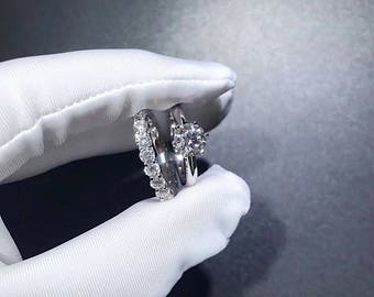 1.7 Ctw Bridal Sets / Wedding Ring Set : 1 Carat Round 6 Prong Solitaire  Engagement