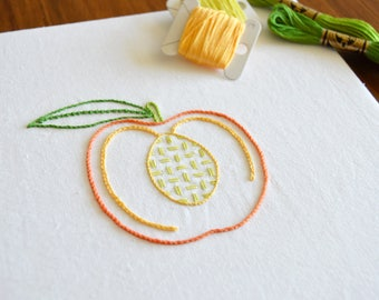 Lacerated Peach hand embroidery pattern, modern embroidery, fruit design, embroidery patterns, embroidery PDF, PDF pattern