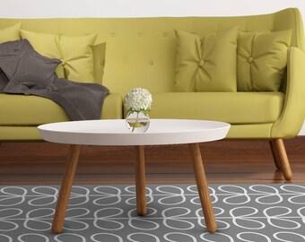 Vinyl Floor Mat With Grey Leaves. Printed PVC Area Rug, Door Mat Or Kitchen