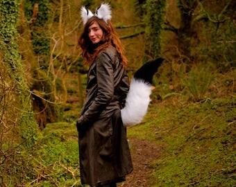 "Arctic Fox Ears & Tail Set! Black White Fox Ear Headband and 30"" inch Long Perky Fox Tail! Realistic Fox Costume Partial Fursuit Cosplay"