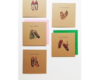 Pack of five shoe themed greetings cards for females