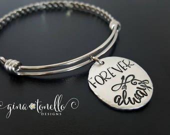 Infinity Bracelet, Forever and Always Bracelet, Anniversary Gift for Her, Girlfriend Bracelet, Wedding Gift for Wife, Engagement Gift, TW