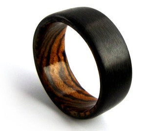 Carbon Fiber Ring, Exotic Wood Ring, Bocote Ring, Carbon Fiber Band, Carbon Fiber Jewelry, Carbon Fiber Wood Ring, Wood Ring