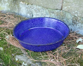 "13-1/4"" x 2-3/4"" ~ Enamelware Dish Pan/Wash Basin ~ Royal Blue With White Flecks ~ Graniteware Pan ~ Fruit Bowl ~ Enamelware Pan"