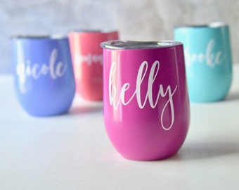 Swig Wine Tumbler Bridesmaid Gift - Bachelorette Gift -Custom Personalized Monogrammed Tumbler With Lid