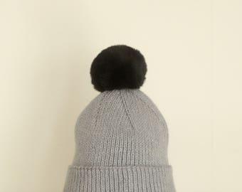 Cozy Handmade Italian Merino Wool & Alpaca Rib Knit Beanie Hat with Fur Pom-pom (Grey/Black)