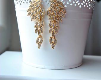 Gold Chandelier Earrings, Crystal Earrings Megan Bridal Earrings, Bridal Jewelry, Crystal Wedding Earrings ,Long Great Gatsby 1920s earrings
