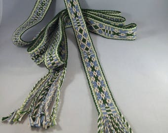 Handwoven Viking Trim or Belt - inkle ribbon, strap, band, trim - SCA, LARP, Nordic, Baltic, Blue, Green, Cream