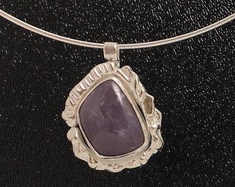 Lavendar Blue Agate Sterling Silver Pendant \ Organic Free Form