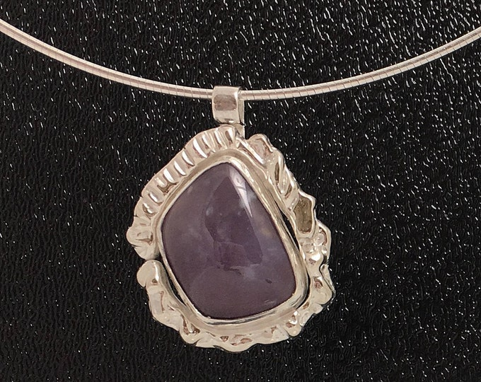 Lavendar Blue Agate Sterling Silver Pendant \ Organic Free Form