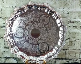 GORGEOUS Sheridan Silver Serving Tray, Silverplated Footed, Heavy Baroque Trim, Silver Tea Tray, Wedding, Catering, Holiday, Barware, Waiter