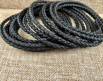 8 Ply 8mm Leather Cord Black Bolo Braided 8 mm Leather Cord Black Natural Dye  Bracelet Cord Necklace Purse Cord LCBR1