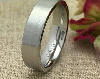 6mm Cobalt Wedding Ring, Brushed Finish Comfort Fit Cobalt Ring Band, Men's Wedding Band, FREE ENGRAVING