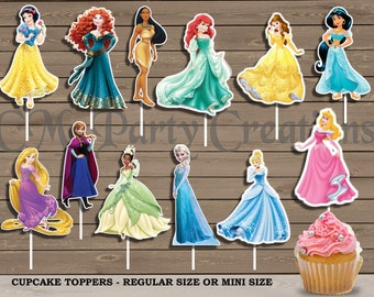 Disney Princess Cupcake Toppers, Die Cuts, Birthday Party Cupcake Toppers, FAST TURNAROUND