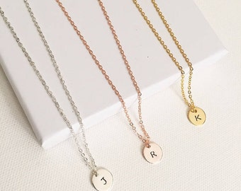 initial necklace, hand stamped necklace, initial jewellery, personalised necklace, minimalist necklace, monogram necklace, gift ideas, gold