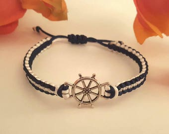 Ship Wheel Macrame Bracelet